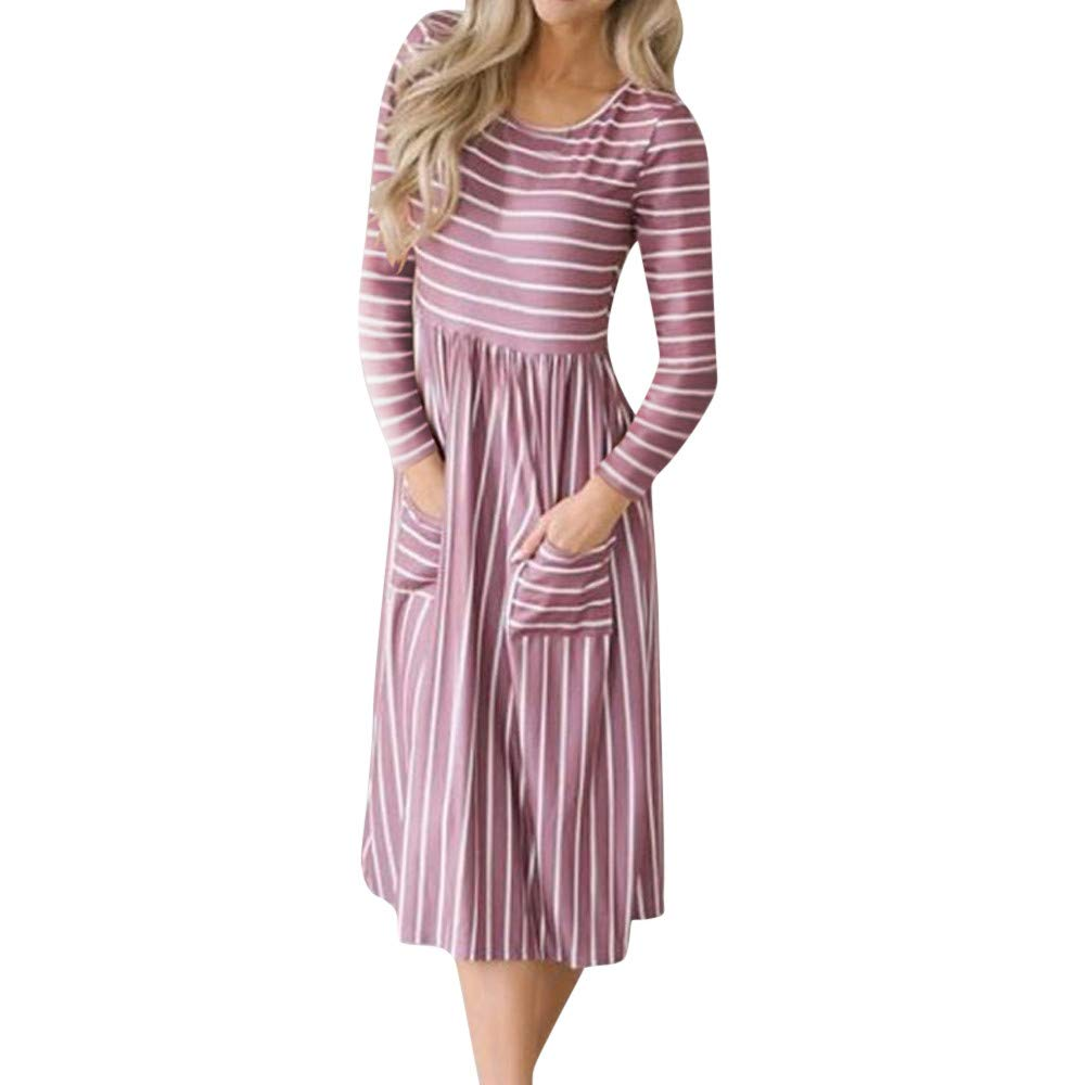 Pullover Dress Pattern,Women Casual Stripe Printing Round Neck Long Sleeve Evening Party Dress PP/M,Baby & Toddler Toys > Spinning Tops,Purple,M