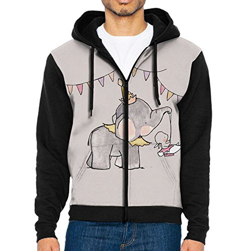 LUANSH Valentine's Day Elephants and Rabbits 3d Raglan Hoodie Zip Pockets Colorblock Sweater 90s For (Rabbit Sun Fun Mix)