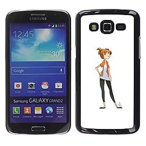 YOYOYO Smartphone Protección Defender Duro Negro Funda Imagen Diseño Carcasa Tapa Case Skin Cover Para Samsung Galaxy Grand 2 SM-G7102 SM-G7105 - personaje de chica dibujo blanco minimalista