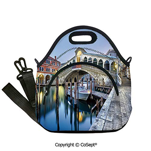 Multipurpose Neoprene Lunch Bag,Morning Twilight Grand Canal Rialto Bridge Water Reflection Scenic Urban Decorative,Lunch Boxes Container Tote(12.59x6.29x12.59 inch) Silver Blue Cinnamon
