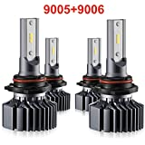 9006 9005 LED Headlight Bulbs Hi Lo Beam,Combo Package (2 sets) Seoul CSP Led Chips-12000LM 6000K Xenon White,1 Yr Warranty