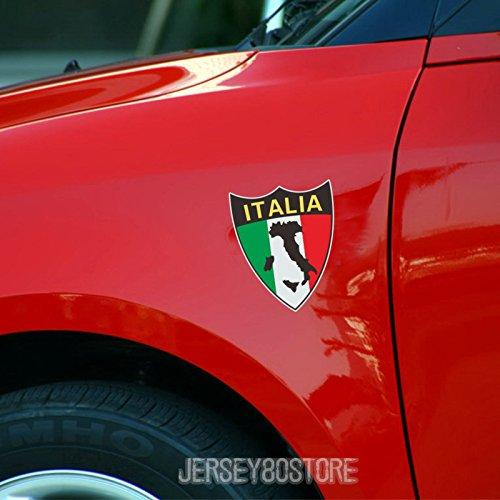 3S MOTORLINE 2X Flag Map of Italy Italian Decal Sticker Car Vinyl Shield 4'' 3M Reflective (4'' (10.2cm))