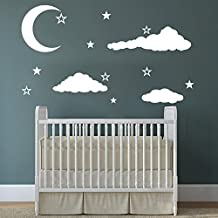 Cloud Wall Decals Baby Room Nursery Clouds Moon and Stars Wall Vinyl Decal Stickers Playroom Kids Children Bedroom Murals Home Decor