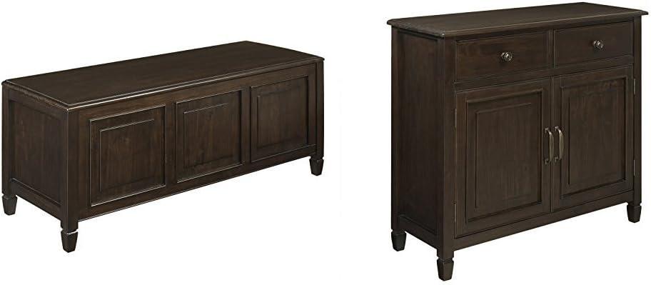 Simpli Home Connaught Storage Bench Trunk, Dark Chestnut Brown + Simpli Home Connaught Entryway Storage Cabinet, Dark Chestnut Brown :Bundle
