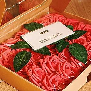 Unigds 20Pcs Artificial Flowers Rose Decor Wedding Bouquets Centerpieces Party Home Foam Roses Flowers Decorations (Red, 20 PCS) 95