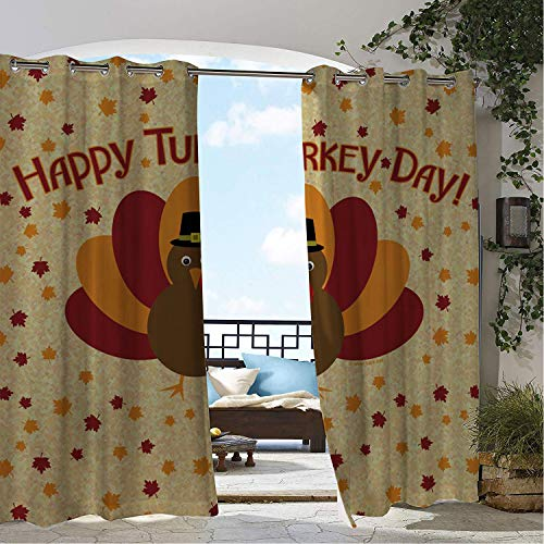 (Linhomedecor Balcony Waterproof Curtains Happy Turkey Day Cartoon Thanksgiv g Porch Grommet Patterned Curtains 108 by 84 inch)