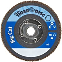 "Weiler Big Cat High Density Abrasive Flap Disc, Type 27, Threaded Hole, Phenolic Backing, Zirconia Alumina, 4-1/2"" Dia, 40 Grit (Pack of 1)"