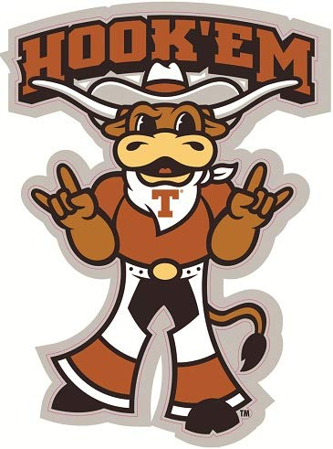 3 Inch Longhorn Bevo Hook 'em Logo Decal UT University of Texas Longhorns TX Removable Wall Sticker Art NCAA Home Room Decor 2.5 by 3 Inches
