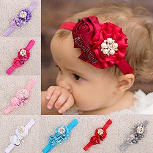 - Pink Lizard Flower Pearl Baby Headband Girl Toddler Infant Hair Band Kids Headwear Accessory