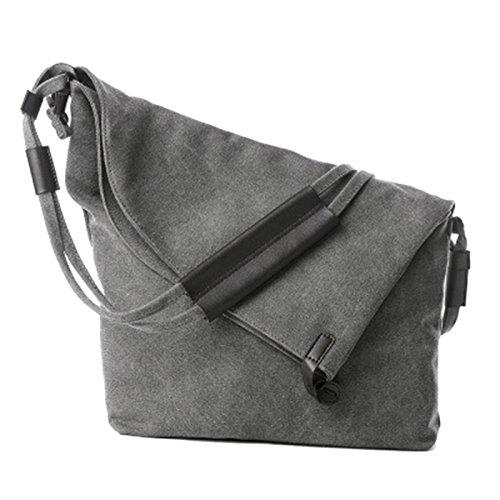 JAGENIE Women Canvas Casual Handbag Summer Beach Shoulder Bags Messenger Tote Hobo Bag Gray