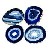 Airblasters Blue color 3.5-4 inch Natural Sliced Agate Coaster with Rubber Bumper Set of 4