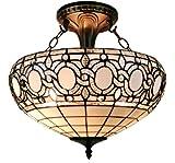Amora Lighting AM230HL16 Tiffany-Style Semi-Flush Mount Ceiling Fixture Tiffany Tiffany-Style Semi-Flush Mount Ceiling Fixture, 17