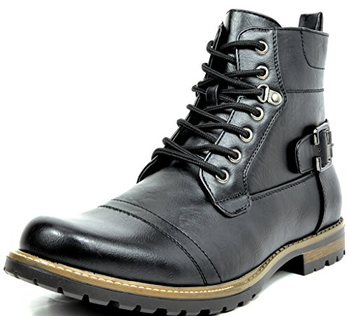 Bruno MARC PHILLY-5 Men's Formal Classic Cap Toe Vintage Laced Up Side Zipper Military Combat Boots Black SIZE 15