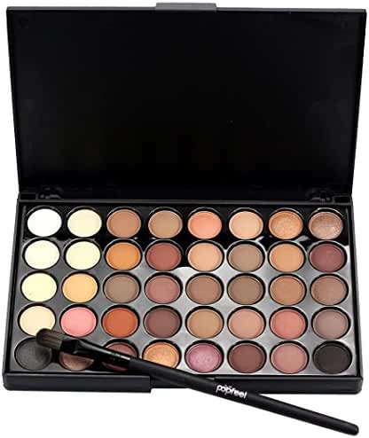 Mandy 40 Color Cosmetic Matte Eyeshadow Cream Makeup Palette Shimmer Set+ Brush Set (A)