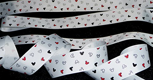 5/8 inch MICKEY MOUSE ears head confetti print red white black Disney grosgrain RIBBON ~ 1 Yd Long ~ hair tie headband wrap gifts bows crafts