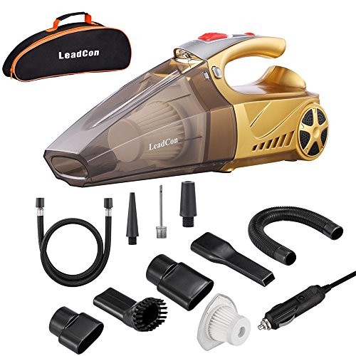Handheld Car Vacuum Cleaner, High Power LeadCon DC 12v Portable Handheld Car Vacuum Wet Dry 4.5Kpa Suction Auto Vacuum Cleaner Tools with Cigarette Lighter Plug 16.4ft Power Cord