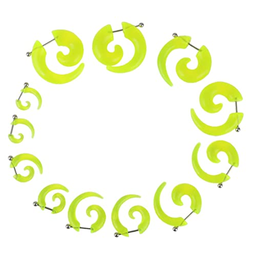6 Pares Dilatador Expansor Forma Espiral Acrílico Tapones para Oreja Oído (verde)