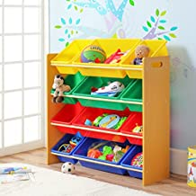 Finnhomy Kids' Toy Storage Organizer with 12 Plastic Colored Bins, Box Basket Shelf for Dog Toys, Kids & Children Toys