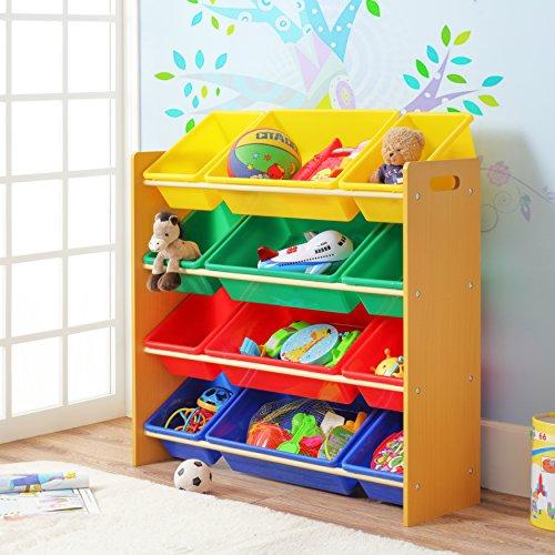 Finnhomy Kids' Toy Storage Organizer with 12 Plastic Colored Bins, Box Basket Shelf for Dog Toys, Kids & Children Toys (Baskets With Toy Shelves)