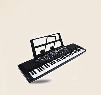 KYOKIM Teclado Infantil Piano De 61 Teclas Muñeco Musical con Micrófono Cable De Alimentación Atril (Negro Rosa),Black: Amazon.es: Hogar