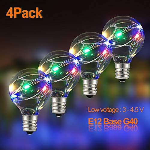 IELECMG G40 Replacement Bulbs 4 Pack Globe Lights Bulbs Clear E12 Light Bulb Globe Screw Base Light Outdoor String Lights Bulbs 0.1W/ 3-4.5V for G40 String Light Bulbs Indoor Outdoor Multicolor (Lamps 5 Tavern)