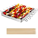 """UNICOOK Heavy Duty Stainless Steel Barbecue Skewer Shish Kabob Set, 6pcs 13""""L Skewer and Foldable Grill Rack Set, Durable and Reusable, Bonus of 50pcs 12.5""""L Bamboo Skewers for Party and Cookout"""