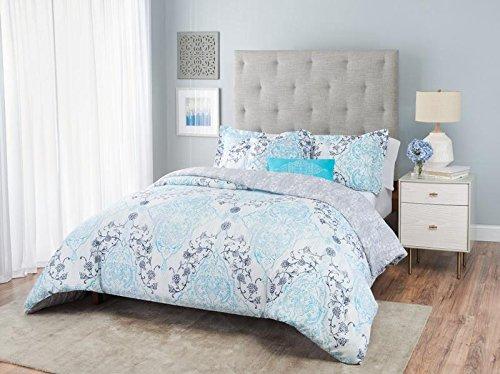 Home Dynamix Nicole Miller Emma Damask Bedding Ensemble | White Washed Aqua & Navy Blue Comforter Set | Multi Piece Reversible Collection | Comforter + Toss Pillows + Shams | 5-Piece King Set