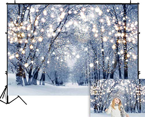 Funnytree 7x5ft Winter Scene Backdrop Wonderland Snowflake Photography Background Bokeh Glitter White Snow Forest Christmas Party Decoration Tree Landscape Kids Portrait Photobooth Photo Studio Props