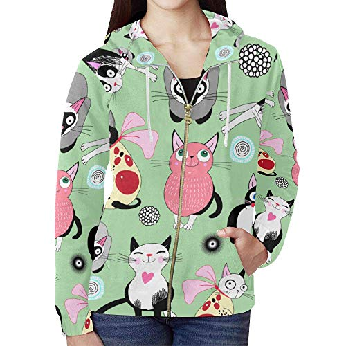 Cute Cartoon Cat Pattern Print Women's Full Zip Hoodie Sweatshirt
