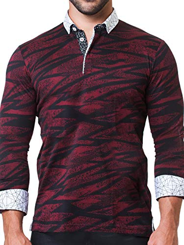Maceoo Mens Designer Polo - Stylish & Trendy Sport Shirts - Newton Black Scribble - Tailored -