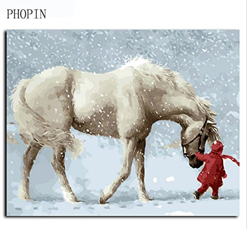 Diy Oil Painting, PHOPIN WoodenFramed Paint/Creative Horse In The Winter DIY Canvas Oil Painting Home Decor Wall Art
