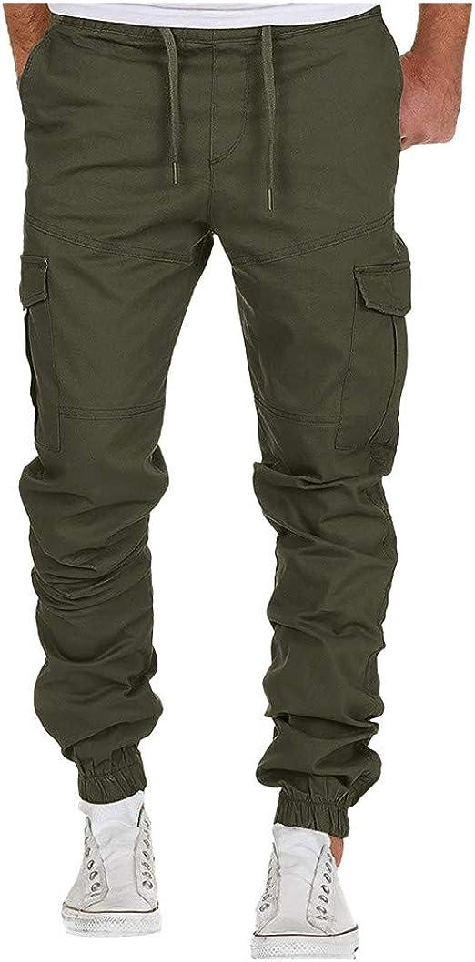 Fashion Mens Sport Solid Drawstring Casual Loose Sweatpants Jogger Cargo Long Pant