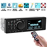 Car Stereo Receiver with Bluetooth Single Din Car Stereo - Multimedia Car Stereo LCD, Audio and Calling, Built-in Microphone, MP3 Player, WMA, USB, Auxiliary Input, FM Radio Receiver, Wireless Remote