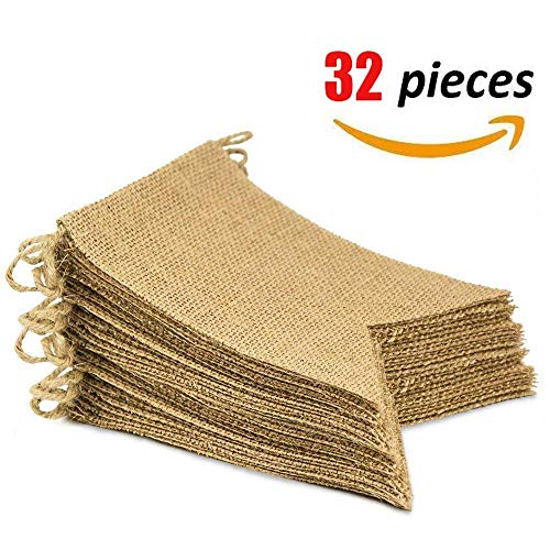 32PCS Burlap Banner, DIY Party Decoration for Festival, Birthday, Wedding Banquet. 29ft Swallowtail -