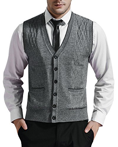 Zicac Men's V-Neck Jacquard Weave Vest Rhombus Pattern Knitwear Sweater Vest Waistcoat (S, Light Gray)