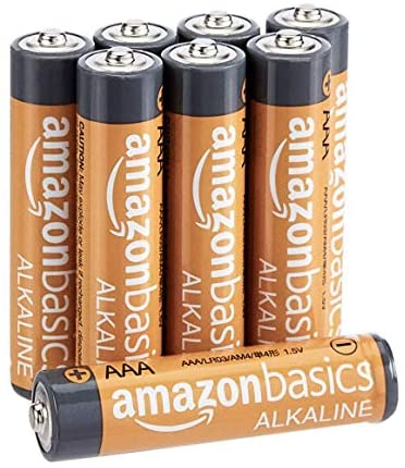 Amazon Basics 8 Pack AAA High-Performance Alkaline Batteries, 10-Year Shelf Life, Easy to Open Value Pack