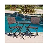 El Paso 3-piece Glass Top Bistro Set with Folding Wicker Chairs For Sale