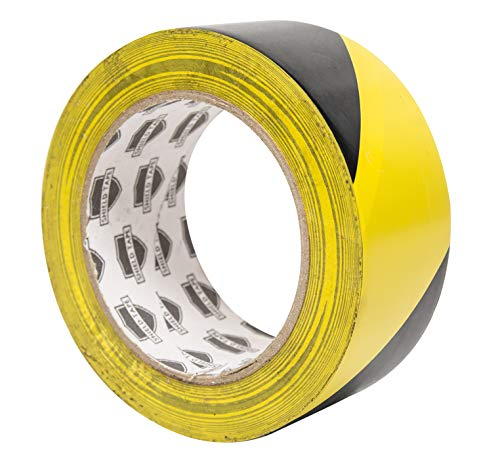 "ABC Aisle Marking Tape 3"" x 36'.1 Roll of Hazard Warning Tape. Flexible Black, Yellow Tape. Vinyl Tape for Making Steps, Pillars, Parking Lots, Walk Ways. Natural Rubber Adhesive. 7 Mil Thick. ()"