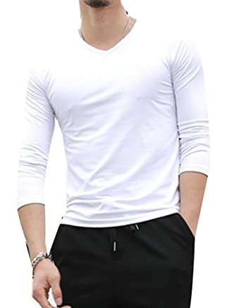 4e805c6f5 Twcx Mens Casual Solid Color V-Neck Long Sleeve Basic Jersey T-Shirt Tees |  Amazon.com