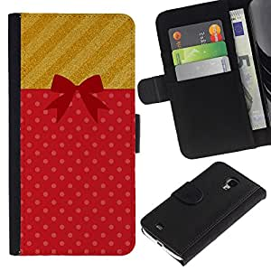 For Samsung Galaxy S4 Mini i9190 MINI VERSION!,S-type® Gift Birthday Present Symbol Bow - Dibujo PU billetera de cuero Funda Case Caso de la piel de la bolsa protectora
