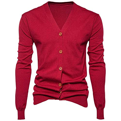 Longues Manteau Manches Hiver Cardigan Mieuid Bouton V Hommes Automne Chic Rot Jacket Neck c8zWPq8