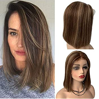 Image of Brown Ombre Wig Lace Front Human Hair Wigs for White Women Medium Brown Roots Mix Strawberry Blonde Pre Plucked 13x4 with Baby Hair Healthy and Bouncy Glueless Wigs 150% Density 14inch #4T4/27 Health and Household