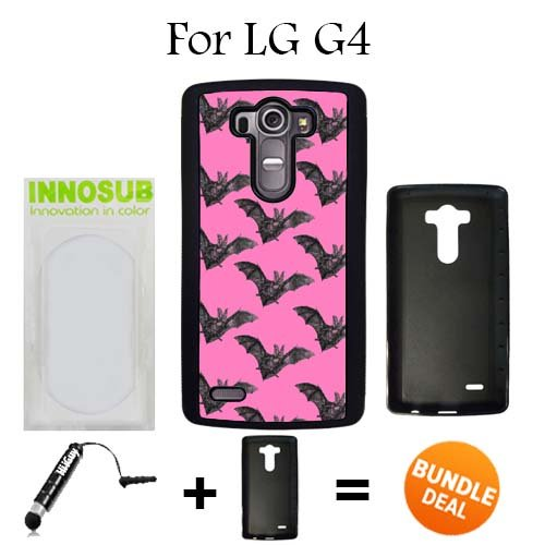 LG G4 Case, Bat Goth GIrl Pretty Black Rubber Case, Premium Bundle 2in1 Comes With Universal Stylus Pen by innosub