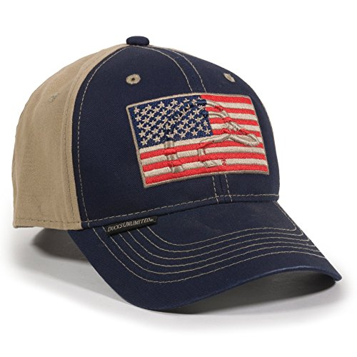 Ducks Unlimited Hat - Outdoor Cap Unisex-Adult American Flag Outdoors Cap, Navy/Khaki, Adult