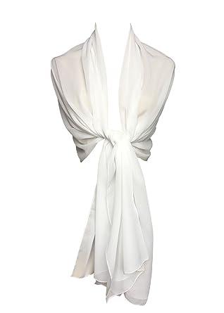 81dc5e219ca8 Topmode Etole écharpe femme en mousseline polyester (200cm x 70cm, Blanc)