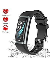 Fitness Tracker Watch, TEYO Activity Tracker Smart Watch with Heart Rate Blood Pressure Monitor, Color Screen Smart Band with Sleep Monitor Step Calorie Counter, Pedometer Watch, IP67 Waterproof Smart Bracelet for Android and iOS