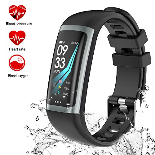 Fitness Tracker Watch, Activity Tracker Smart Watch with Heart Rate Blood Pressure Monitor, Color Screen Smart Band with Sleep Monitor Step Calorie Counter, Pedometer Watch, IP67 Waterproof (black)