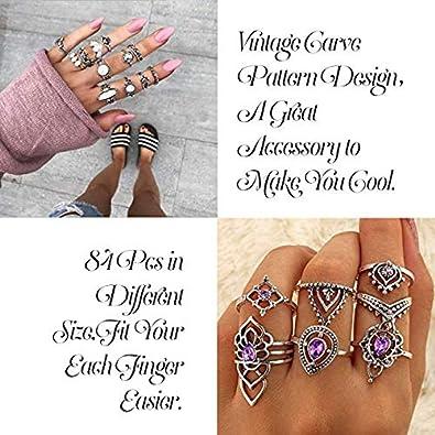 Yadoca 60-84 PCS Vintage Phalange Bague pour Les Femmes Filles Boheme Midi Anneau Empilable Bague Set Bijoux