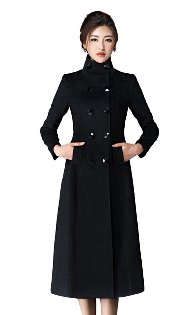 Chickle Women's Double Breasted Lapel Walker Long Wool Coat Black