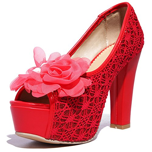 AdeeSu Womens Applique Peep-Toe Red Satin Sandals 4.5 B(M) US